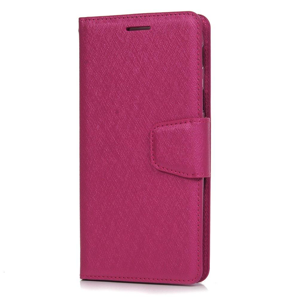 Funda para Samsung Galaxy J5 2017 con tapa a prueba de golpes, funda de piel sintética con ranuras para tarjetas de identificación, cierre magnético, cubierta de piel para Samsung Galaxy J5 2017, Rose Red Tophung