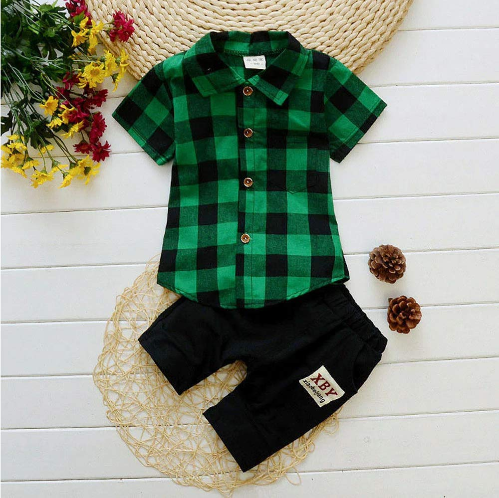 Toddler Baby Boys 2pcs Summer Outfit Classic Plaid Print T-Shirt Tops+ Shorts Clothes Set