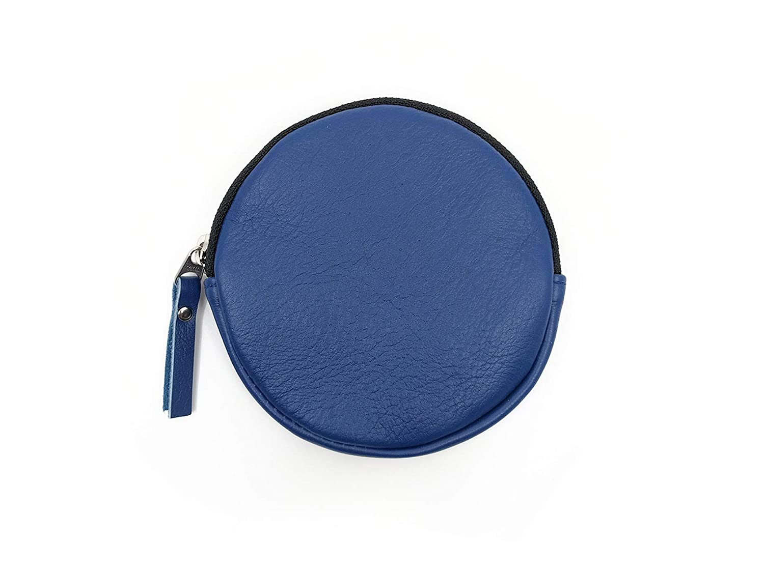 BLUE LEATHER ROUND COIN PURSE CLUTCH