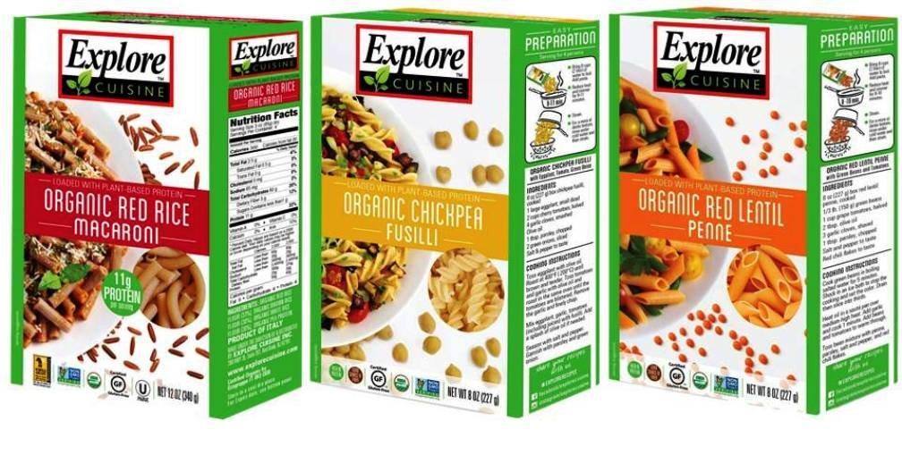 Explore Cuisine Organic Gluten Free Pasta 3 Flavor Variety Bundle: (1) Red Rice Macaroni, (1) Chickpea Fusili, and (1) Red Lentil Penne, 8 Oz Ea