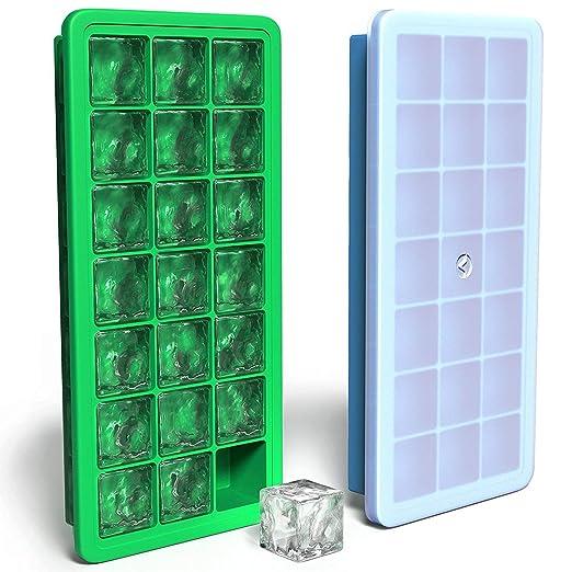 Bandejas de silicona para cubitos de hielo con tapa, 2 bandejas de ...