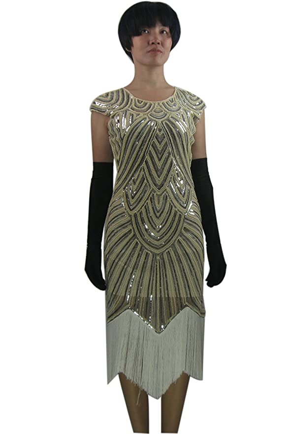 Whitewed Long Gatsby Flapper Inspired Fringe Bead Formal Holiday Dresses  Costume c8fef78ff815