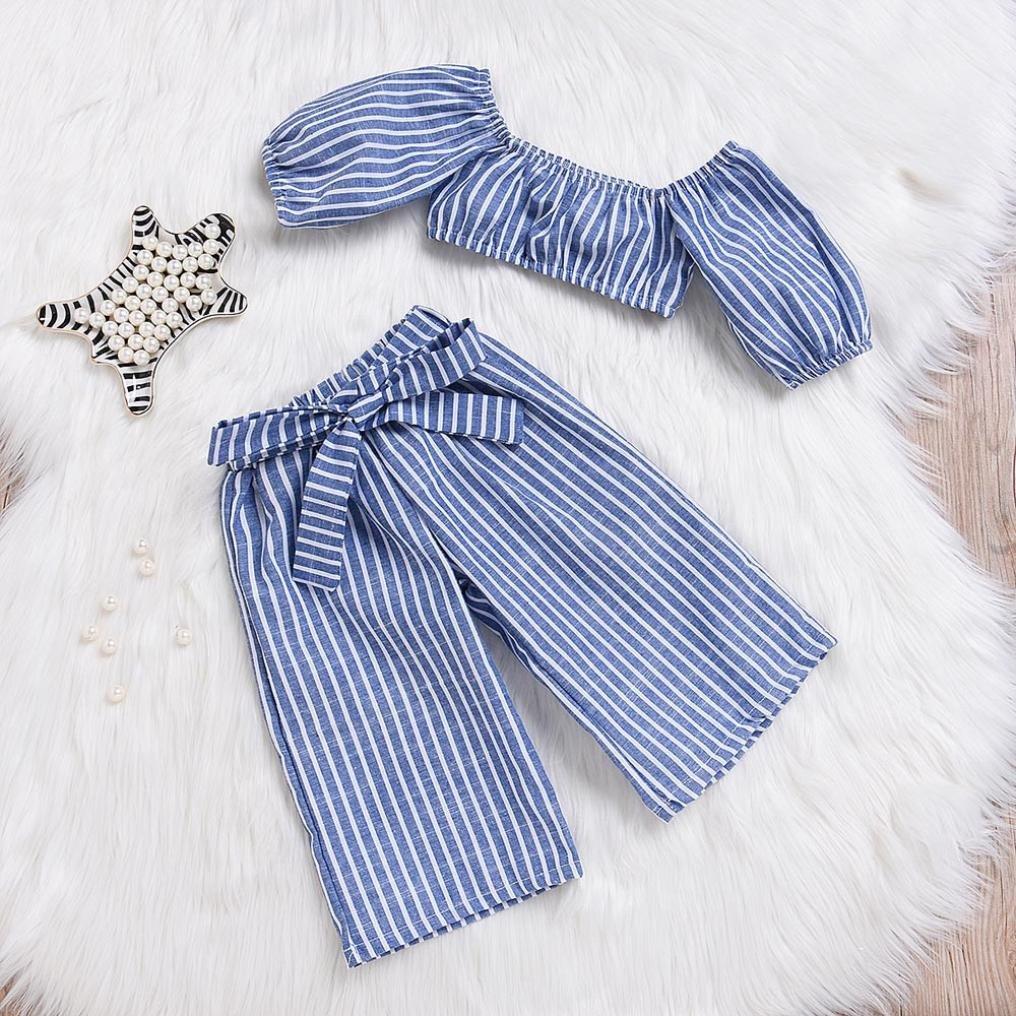 Little Girls Off-Shoulder Sets,KaiCran Baby Kids Girls Stripe Tops Pants Summer Outfit