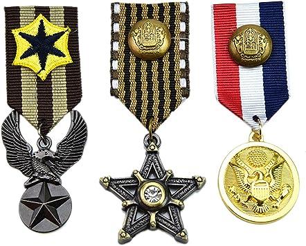 Pomeat - 3 medallas de héroe militar para disfraz de mujer y ...