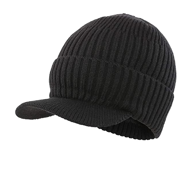ff36a1f8 Home Prefer Men's Knit Hat with Lining Thermal Winter Ski Caps Cold Weather  Hat for Outdoor