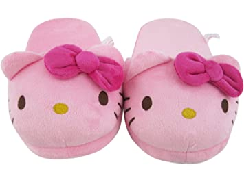 2b736a509 Amazon.com: Pink Hello Kitty Face Kids Plush Slippers: Home & Kitchen