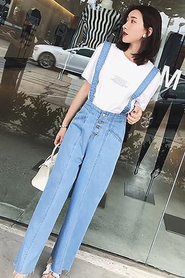 Denim Tooling Jumpsuit Female Summer Korean Version Of The High Waist Loose Thin Wide Leg Shorts Women's Clothing