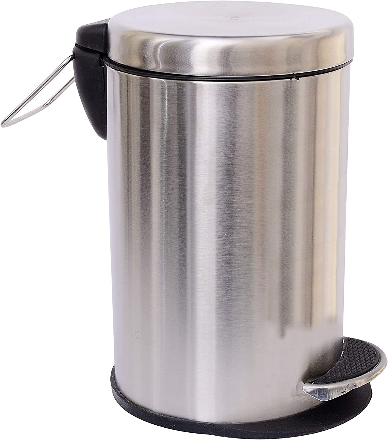 Shapes Stainless Steel Plain Pedal Garbage Bin with Lid and Plastic Bucket for Home, Kitchen, Bathroom and Office - Round Brushed Stainless Steel Dustbin, 1.25 Gallon, Silver, Odor Control Trash Can