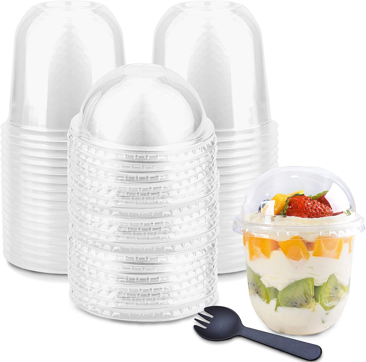 50-Pack Disposable Clear Plastic Cups with Dome Lids (No Hole), 360ml/12oz Crystal PET Dessert Cups for Ice Cream Cake Iced Cold Drinks