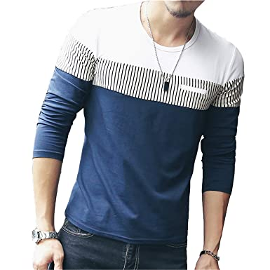 a1287daff8b8 Orcan Bluce Fashion T-Shirt Men Long Sleeve Patchwork Striped T Shirts  Casual Hip Hop