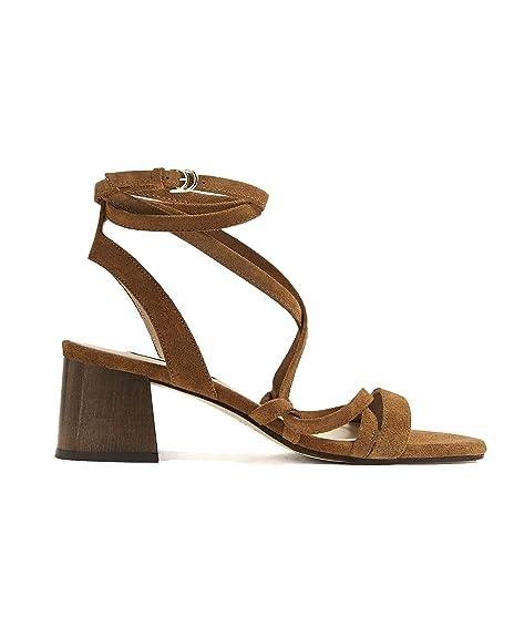 Massimo Dutti - Sandalias de Vestir de Cuero para Mujer Marrón marrón, Color Marrón, Talla 40 EU: Amazon.es: Zapatos y complementos