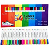 Fabric Markers Pen 30 Colors Permanent Paint Art Marker Set for Writing Painting on T-Shirts Clothes Sneakers Canvas Shoes, C