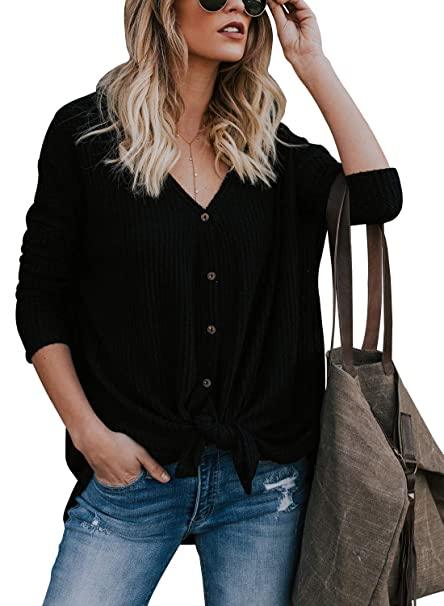 a4cbe729 Lovezesent Women Casual Loose Knitted Blouse Tops Long Sleeve V Neck Front  Tie Knot Button Down