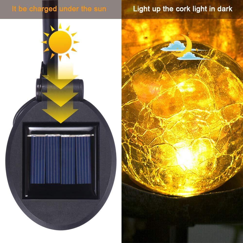 luces de metal de la estaca del globo de cristal del crujido de la luna de ONEVER Pathway Outdoor patio o patio Luces solares para el jard/ín LED blanco c/álido e impermeable para c/ésped