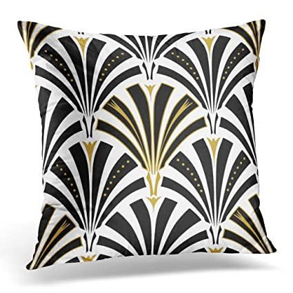 Amazoncom Torass Throw Pillow Cover Retro Fan Pattern Black And