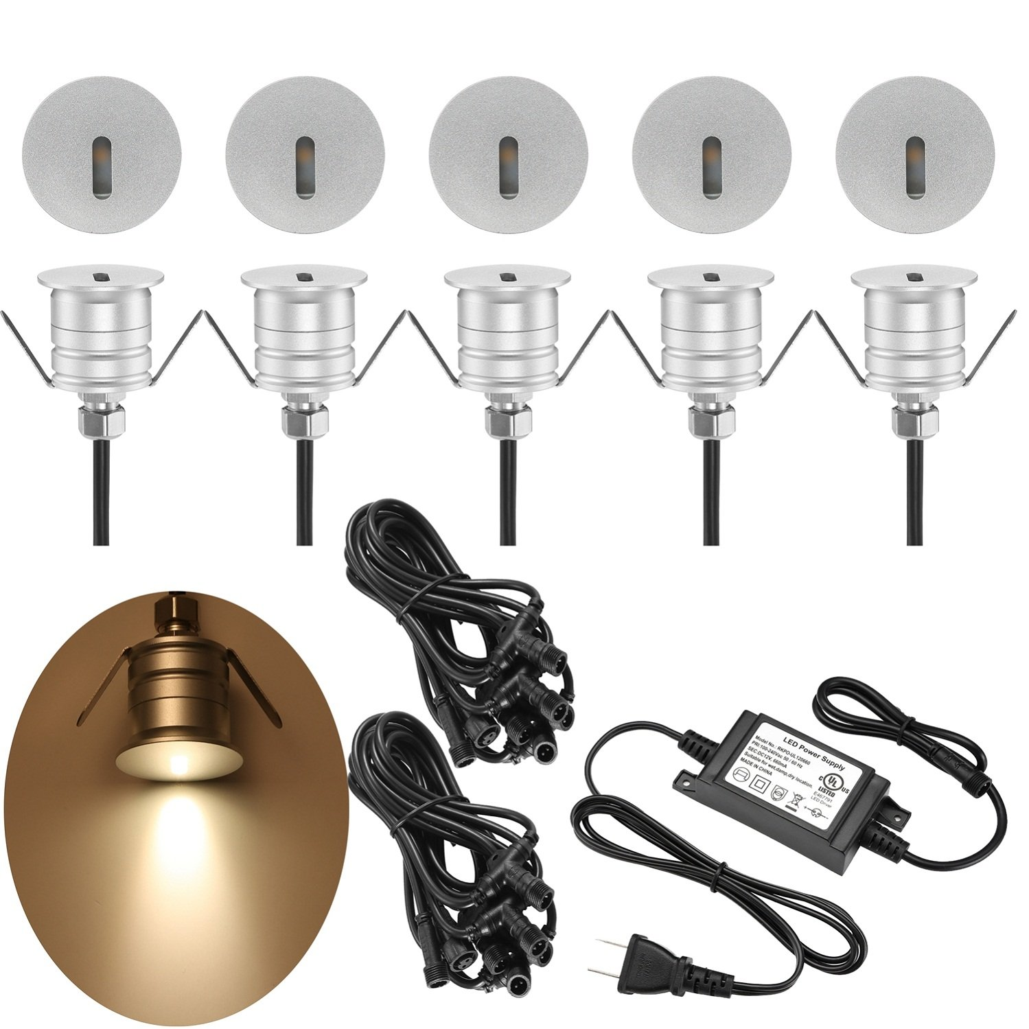 SUMAOTE Deck Lights Kit 12V Low Voltage Waterproof Recessed Deck Lamp High Bright In Ground for Stair Patio Garden Yard Wood Floor Outdoor Landscape Lights Warm White, Pack of 10 by SUMAOTE