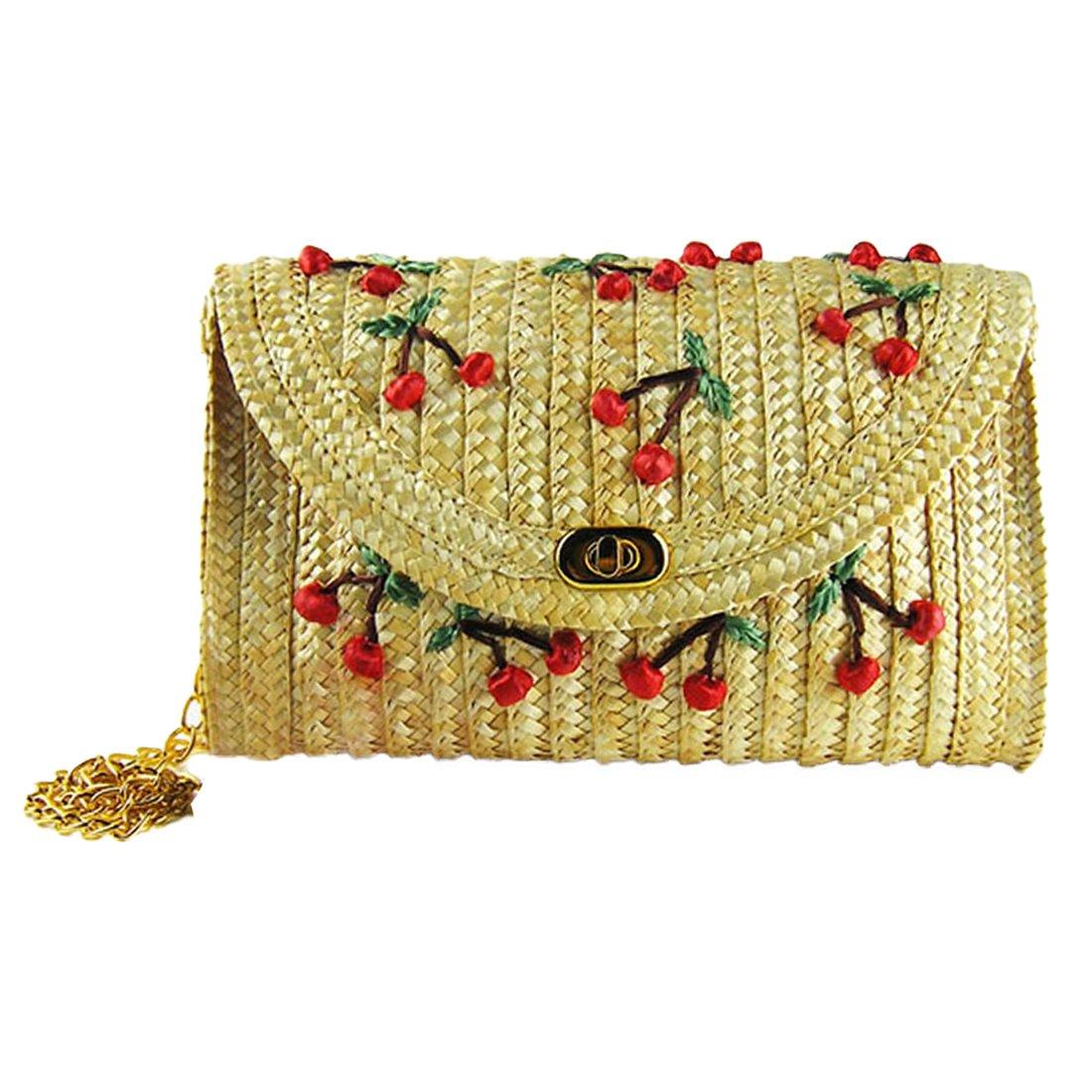 Straw bags for Women Woven Summer Beach bag Evening Clutch Purse (Cherry)