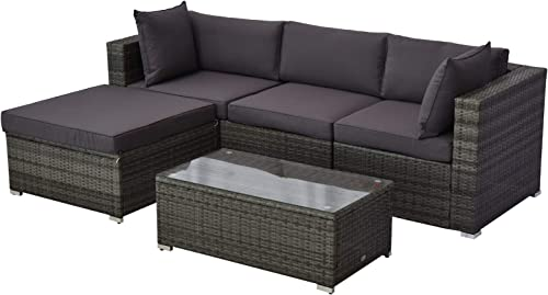 Outsunny 5 Piece Outdoor Patio PE Rattan Wicker Sofa Sectional Furniture Set