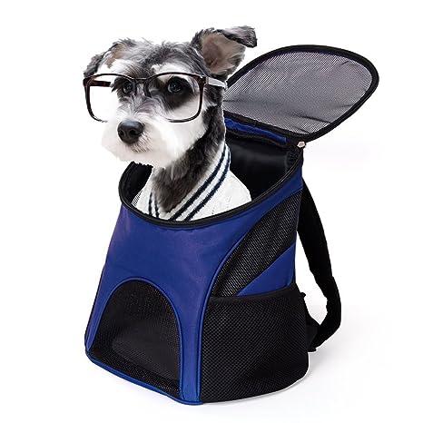 Mochila para Perros Gatos Mascota Bolso de Viaje para Perros Mochila con Ventana de Mallas Tamaño