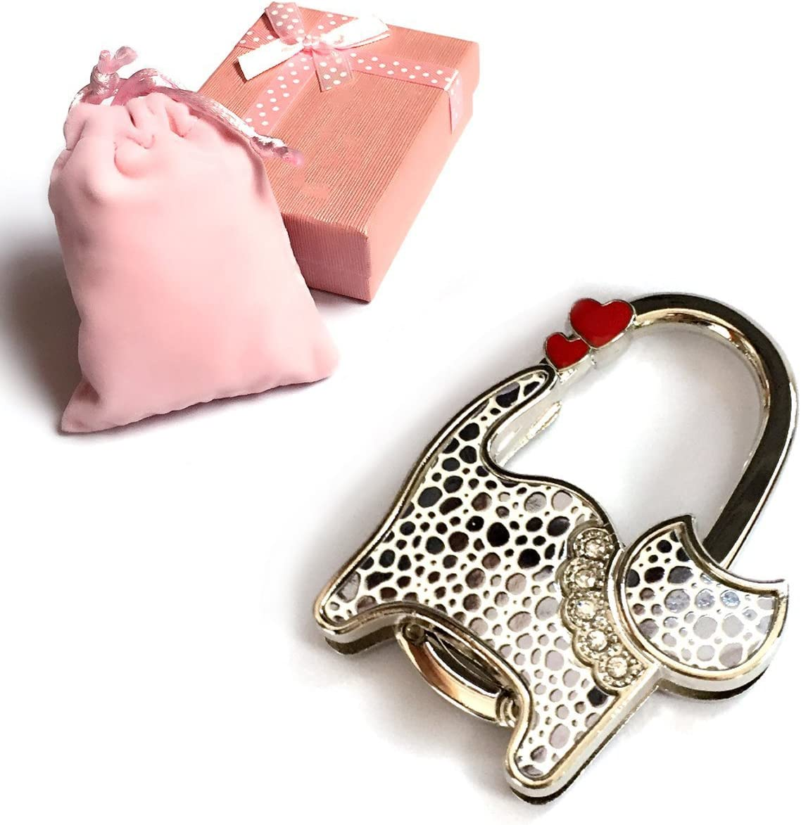 Elesa Miracle Purse Hook6 Choices Foldable Handbag Hanger, Folding Table Hanger, with Velvet Pouch in Gift Box (Silver and White Cat)