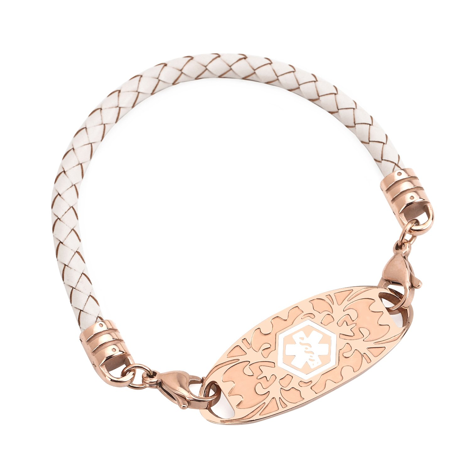 BAIYI Custom Rose Gold Medical Alert ID Tags Bracelets with White Leather Braided Bangle 7.5 in