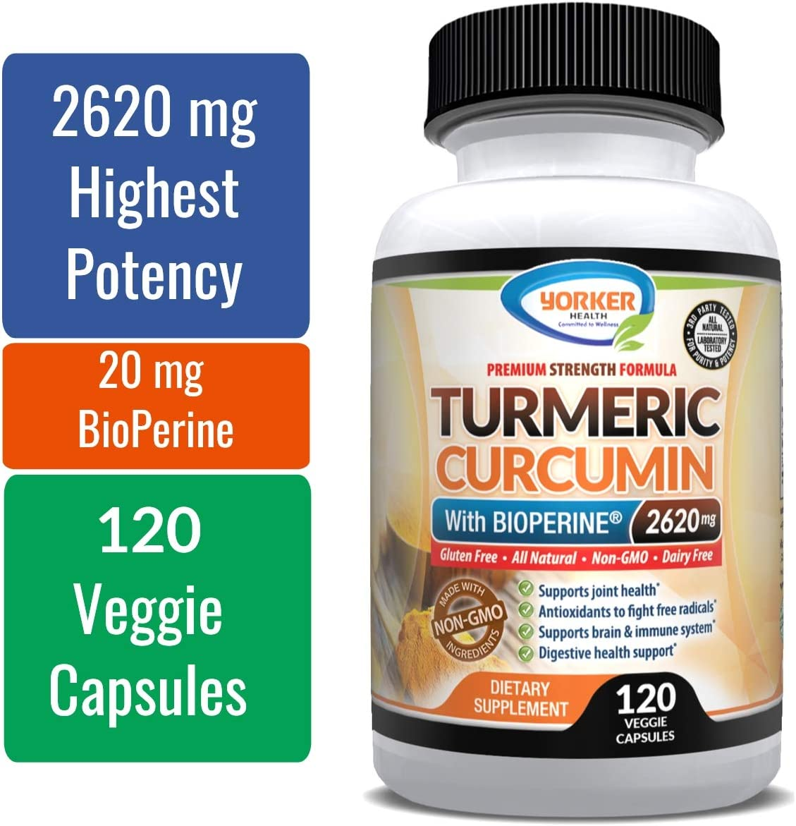 Turmeric Curcumin with Highest Potency of 95 Standardized Curcuminoids 2620 mg with BioPerine. Enhanced Strength Premium Formula for Joint Support, Anti-inflammatory and Antioxidant – 120 Capsules