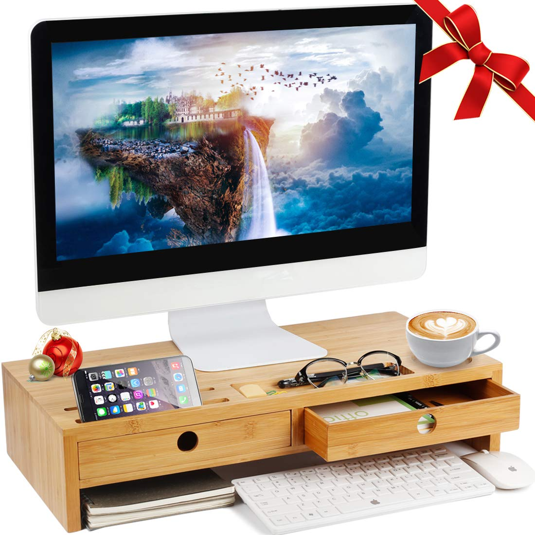 Herdzi Monitor Stand Riser with Drawers, Desktop,Laptop Stand Riser with Keyboard Storage Space for Home & Office Use by Herdzi