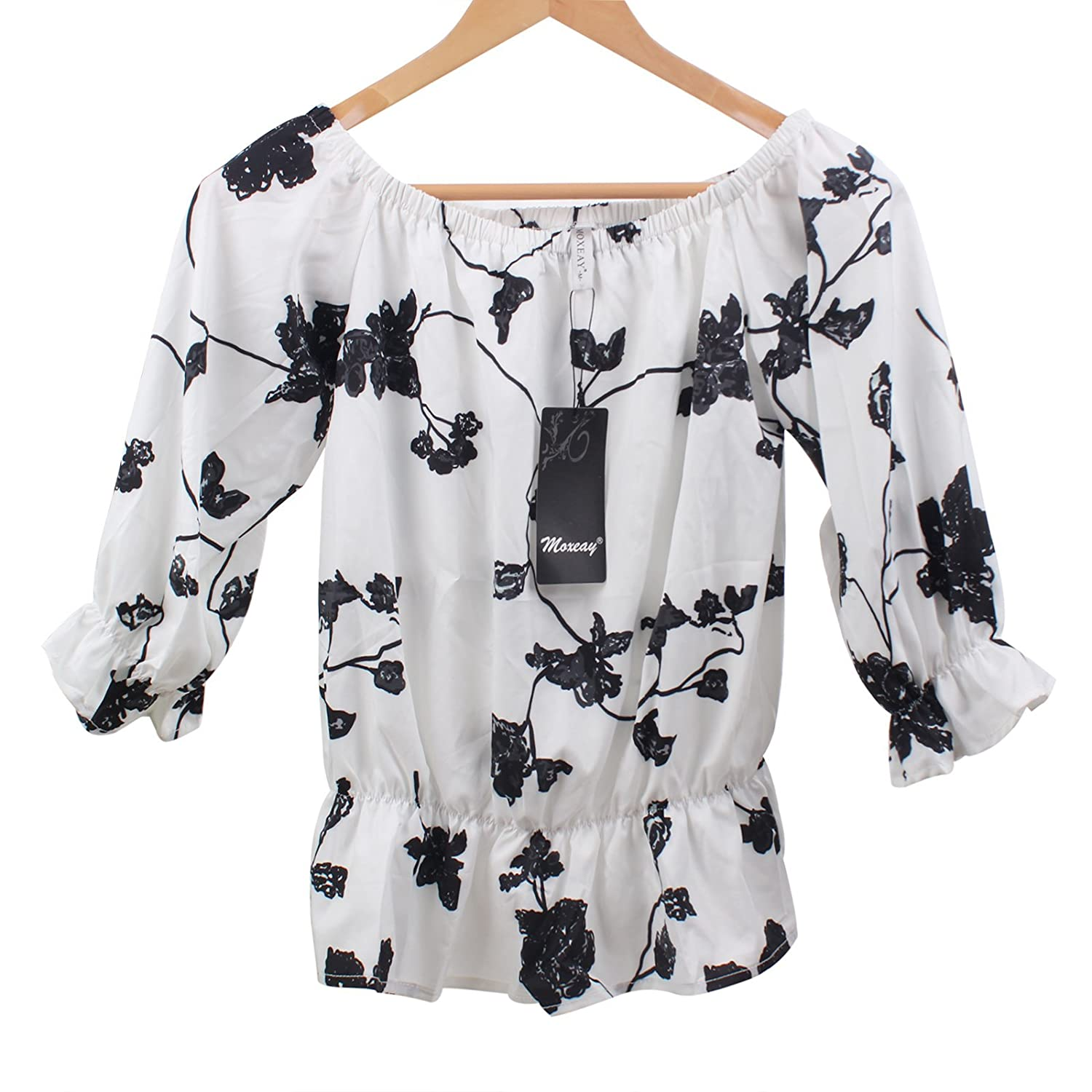 Moxeay Sexy Printed off-shoulder Floral Crop Tops Blouse at Amazon Women's Clothing store