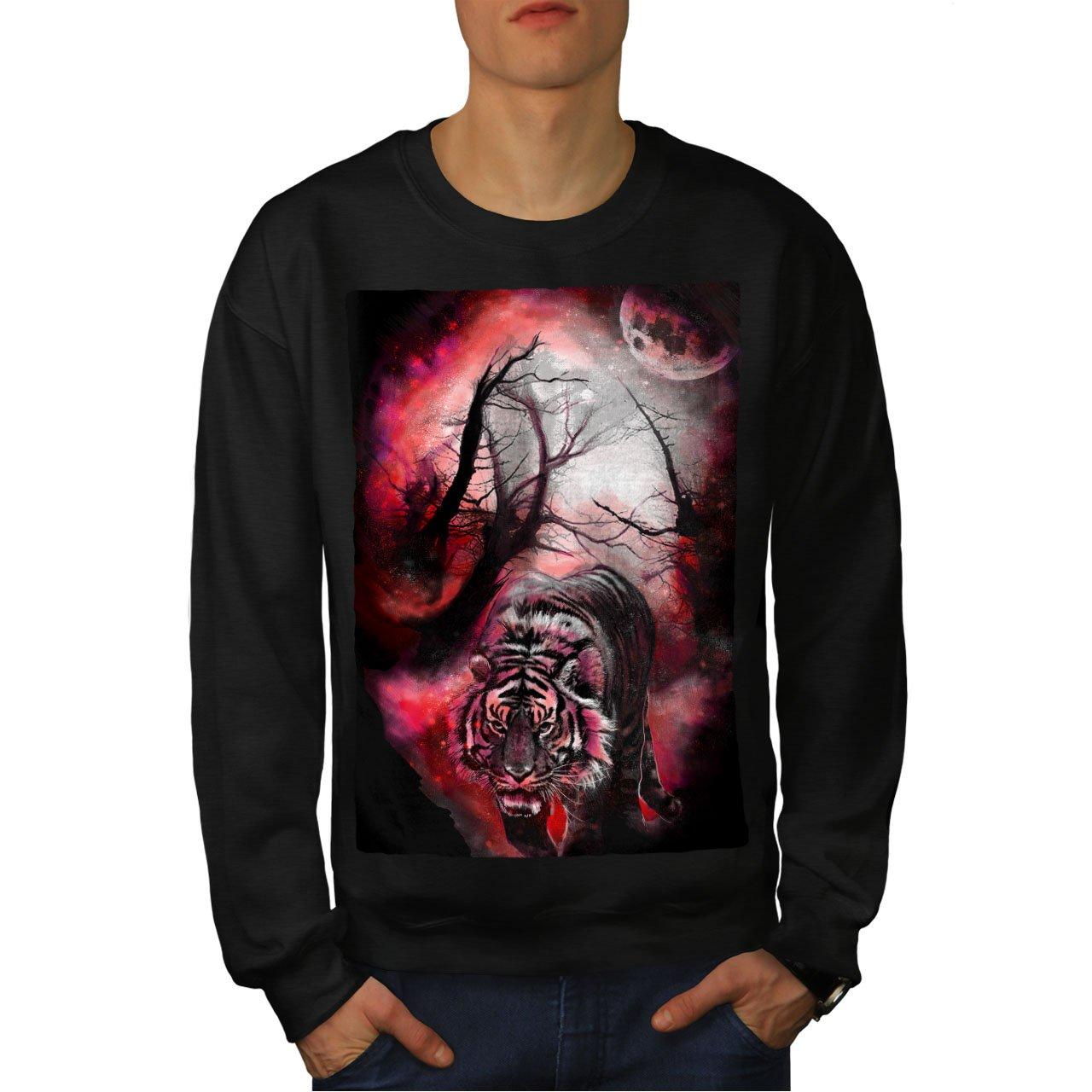 wellcoda Tiger Red Moon Animal Mens Sweatshirt Night Casual Jumper