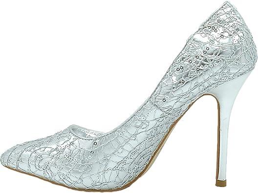 Fratelli ditalia Chaussures Femme avec Pointe et Talon à épingle, modèle argenté avec Strass, Semelle antidérapante, matériau Souple, élégantes