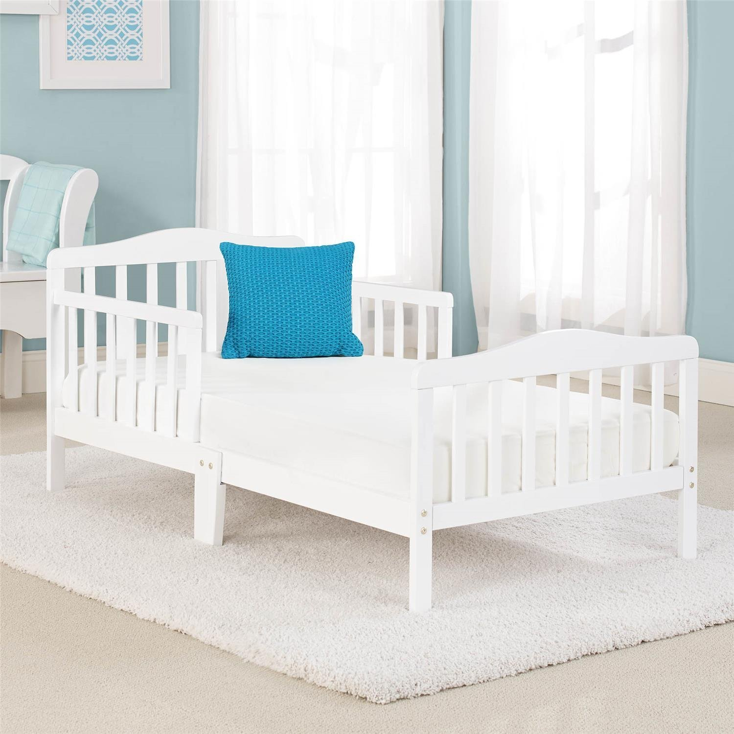 Big Oshi Contemporary Design Toddler & Kids Bed - Sturdy Wooden Frame for Extra Safety - Modern Slat Design - Great for Boys and Girls - Full Bed Frame With Headboard, in White by Big Oshi