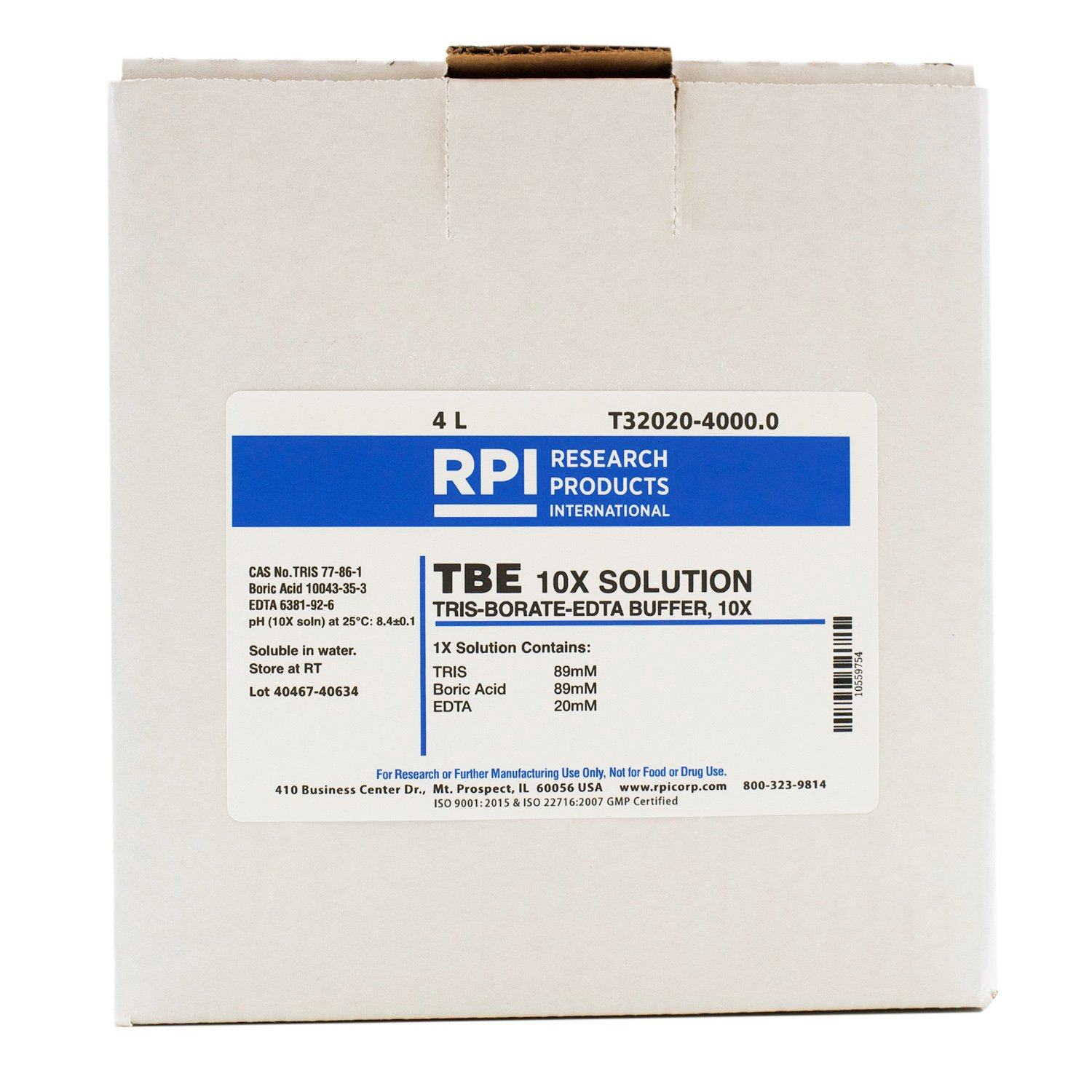 RPI TBE 10X Buffer Solution [TRIS-Borate-EDTA 10X Solution], 4 Liters, Liquid Concentrated Buffer for Gel Electrophoresis
