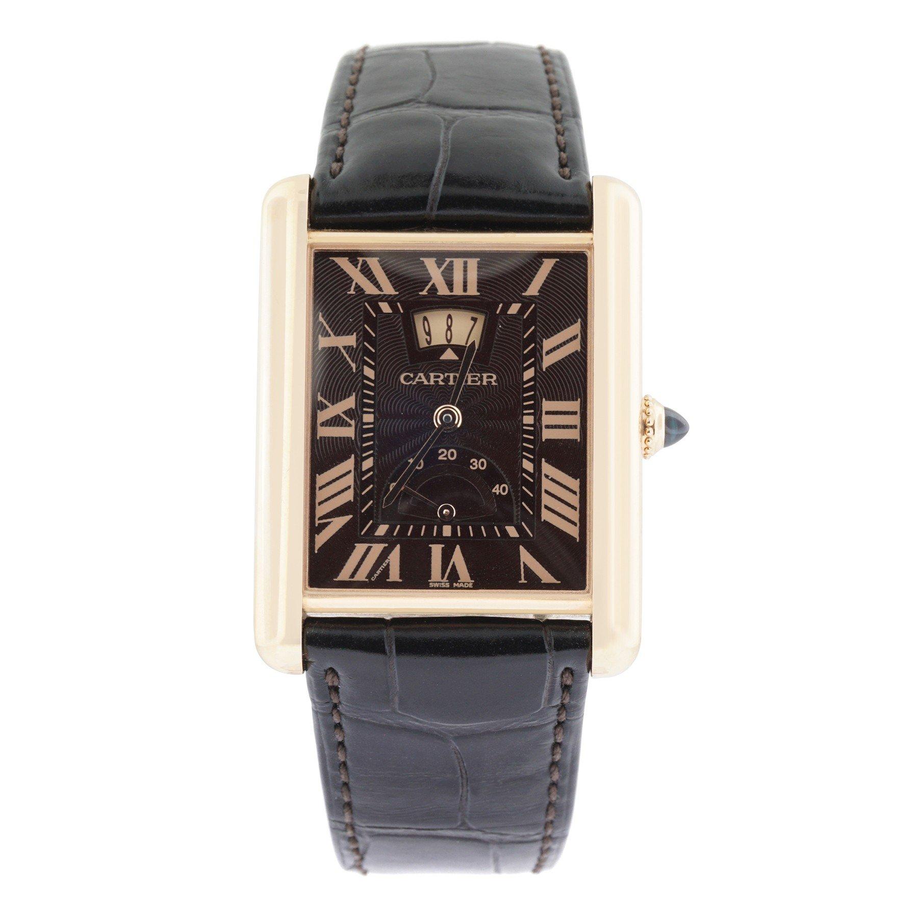 Cartier Tank Louis mechanical-hand-wind brown mens Watch W1560002 (Certified Pre-owned)