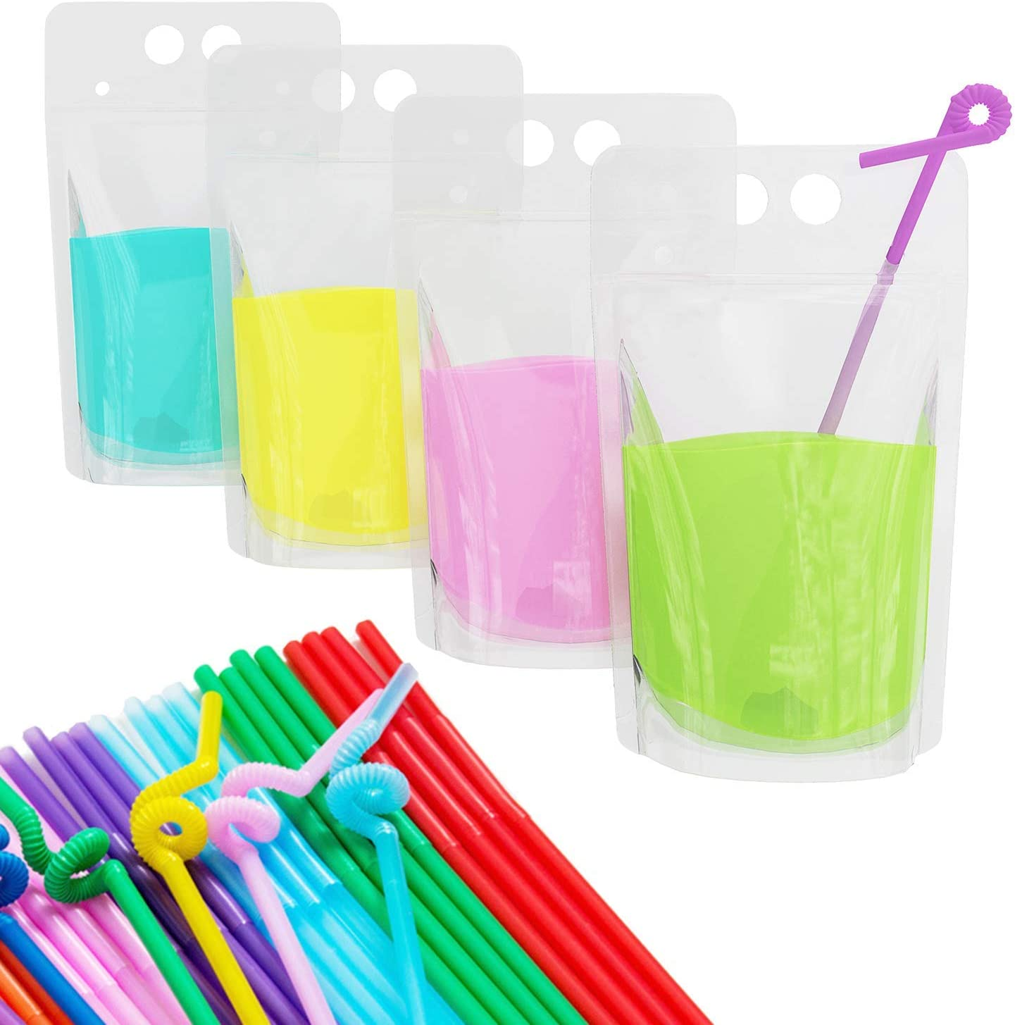 Drink Pouches Bags Clear Translucent Stand-Up Zipper Plastic Pouches Bags 100 pc