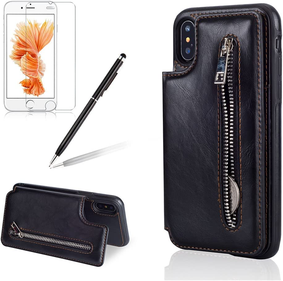 Girlyard for iPhone XR Case with Credit Card,iPhone XR Multifunction Premium Zipper Wallet Leather Case Magnetic Closure Folding Stand Function Shockproof Phone Cover for iPhone XR 6.1 Inch-Brown