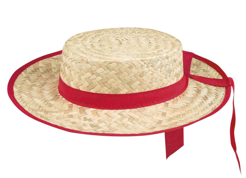 Chapeau canotier avec Bande Rouge Adulte Generique