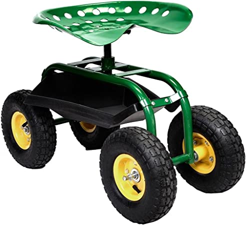 Amazon Com Eagle Rolling Garden Cart Work Seat With Heavy Duty Tool Tray Gardening Planting Green Garden Outdoor