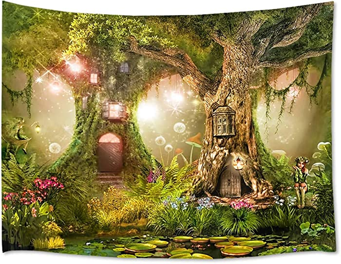 HVEST Fairy Tale Forest Tapestry Wall Hanging Lotus Pond Magic Trees Houses in Dreamland Tapestry for Kids Girls Bedroom Living Room Dorm Decor Birthday Party Backdrop,60Wx40H inches