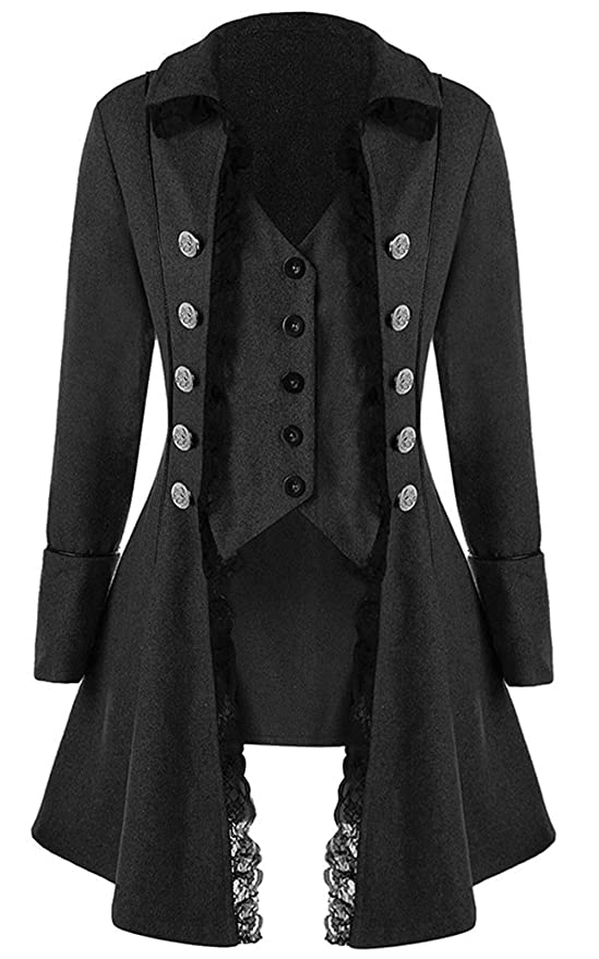 834fc9ce62c Amazon.com  LETSQK Victorian Steampunk Gothic Corset Halloween Costume Coat  Tailcoat Jacket  Clothing