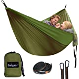 Unigear Double Camping Hammock, Portable Parachute Nylon Hammock with Tree Straps for Backpacking, Camping, Hiking, Travel, Beach and Yard