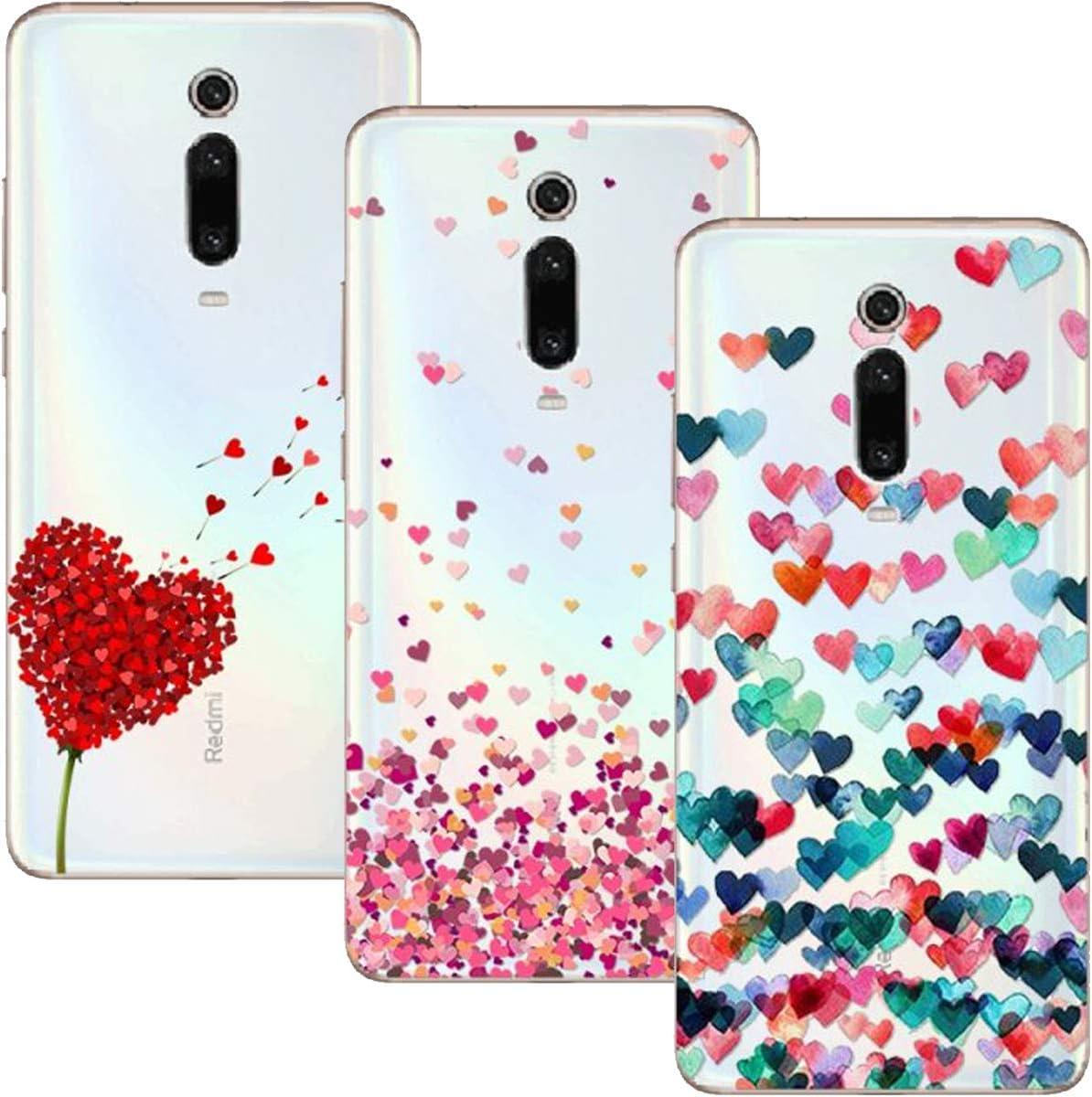 Funda Xiaomi Mi 9T Pro/Mi 9T, (3 Pack) Transparente Ultrafina Carcasa Delgado Antigolpes Resistente, Amor