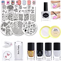 BORN PRETTY Nail Art Stamping Polish Tool Kit 5Pcs Image Template And Jelly Stamper With Polish,Peel Off Tape Remover For Manicure Beginner