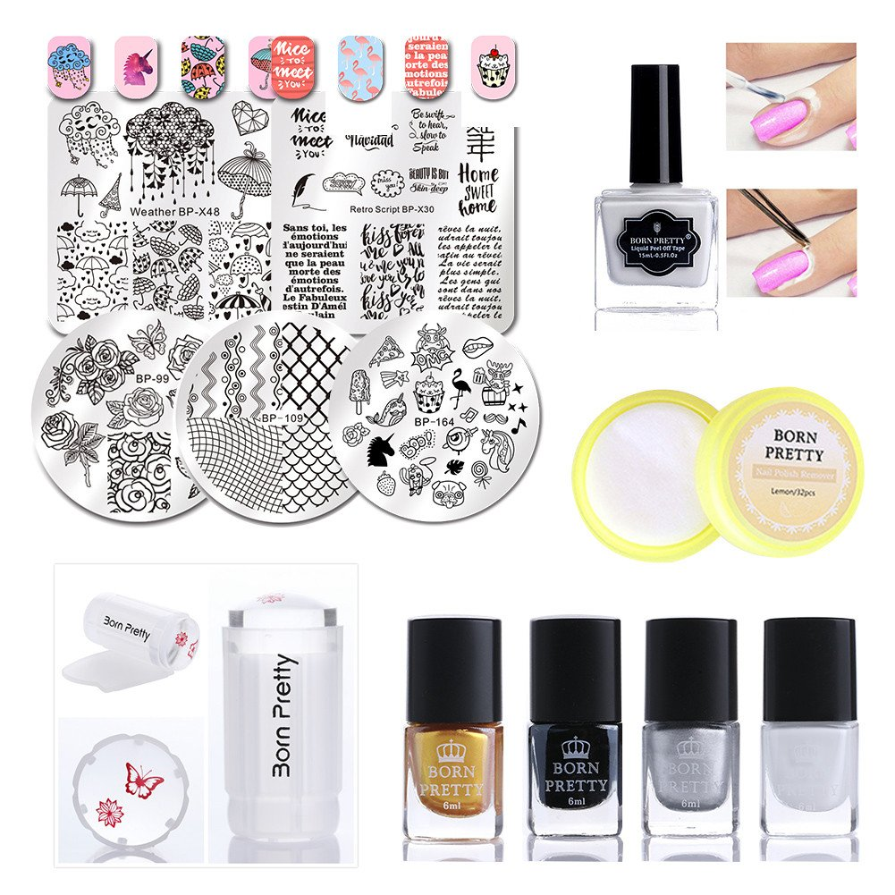 BORN PRETTY Nail Art Stamping Tool Kit 5Pcs Image Template and Jelly Stamper with Polish, Peel Off Tape Remover for Manicure Beginner