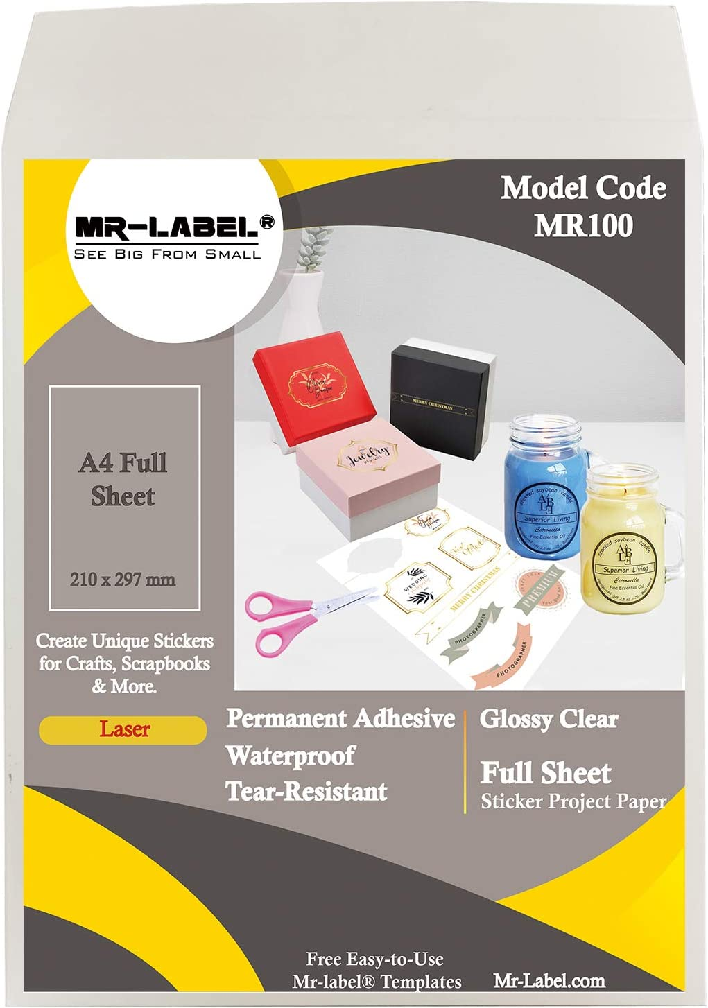 Tear-Resistant stickers for Kitchen use Laser Printer Only Mr-Label Waterproof Removabl Labels Organising and filing