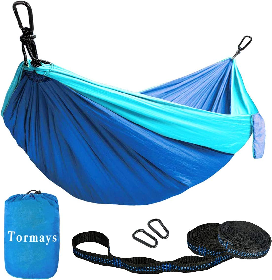 Tormays 660lbs Camping Hammock, Double Portable Hammocks with 2 Tree Straps, Lightweight Nylon Parachute Hammocks for Backpacking, Travel, Beach, Backyard, Patio, Hiking Blue