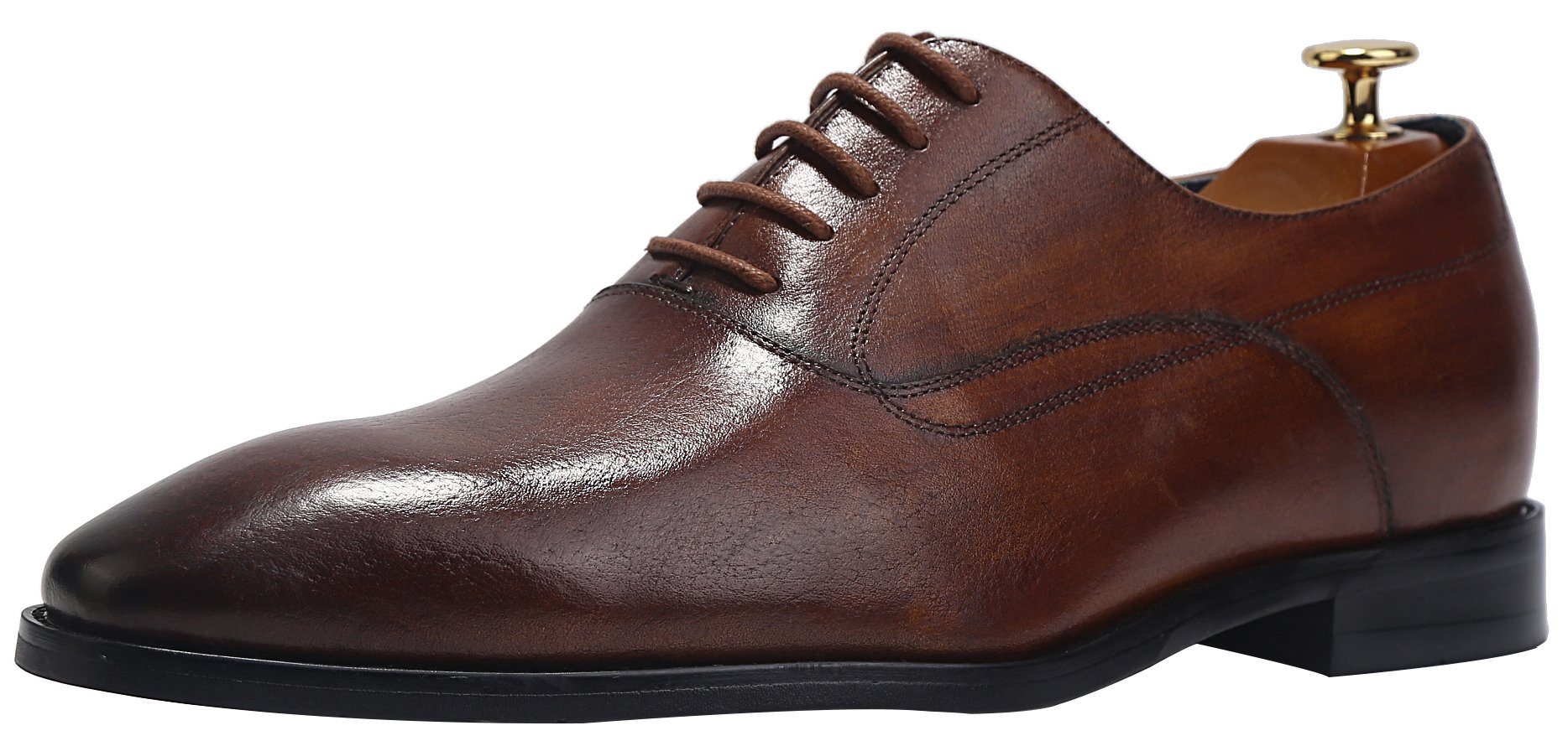 ELANROMAN Men's Business Dress Oxford Shoes Luxury Italian Handmade Derby Shoes Maroon(US 11 EU 45 Foot Length 315.98mm)