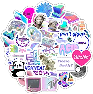 50pcs Vaporwave Stickers for Laptop Water Bottle Scrapbook Album Aesthetic Trendy Stickers for Kids Teens Girls