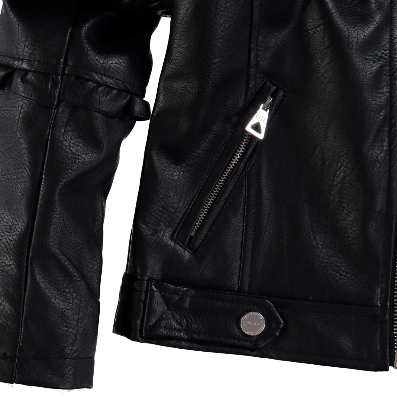 Urban Republic Girls' Faux Leather Ruffle Moto Jacket (Black, 7/8) by Urban Republic (Image #4)