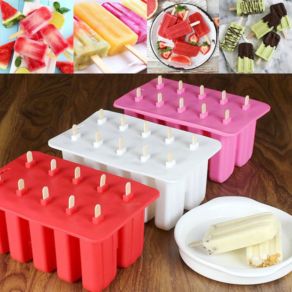 EDTara Ice Cream Mold Silicone Ice Cream Lolly Pop Maker Mould Popsicle Frozen,Ice Tray with Cover Lid,10 Cells by EDTara (Image #6)