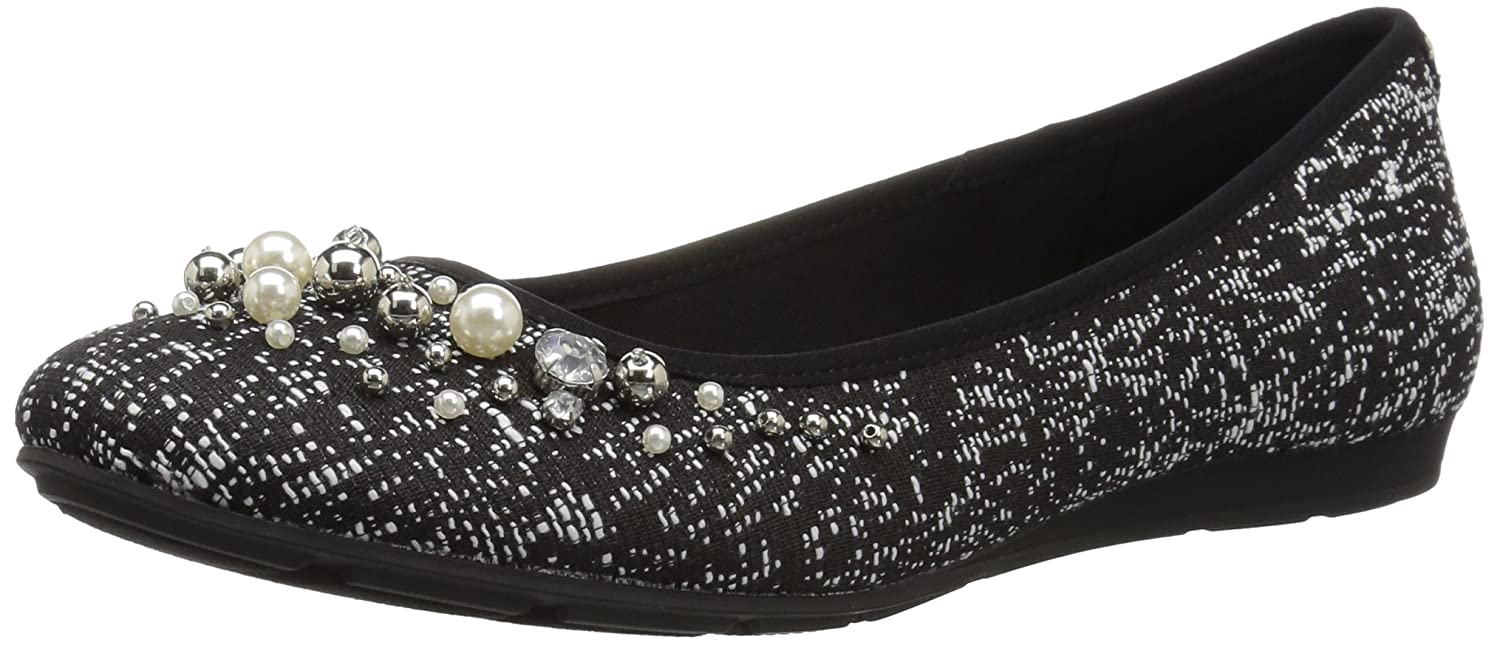 Anne Klein Women's Aveline Ballet Flat B079DJD8TS 11 W US|Black/White Multi Fabric